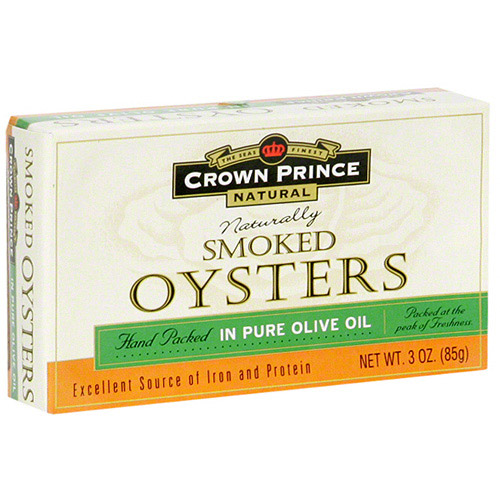 Crown Prince Naturally Smoked Oysters In Olive Oil, 3 oz (Pack of 18)