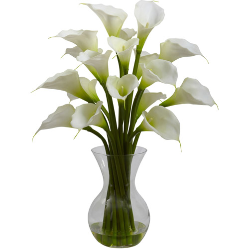 Nearly Natural Galla Calla Lily with Vase Arrangement, Cream