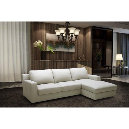 J&M Lauren Contemporary Light Grey Italian Leather Sectional Sleeper Sofa  Sofa Right
