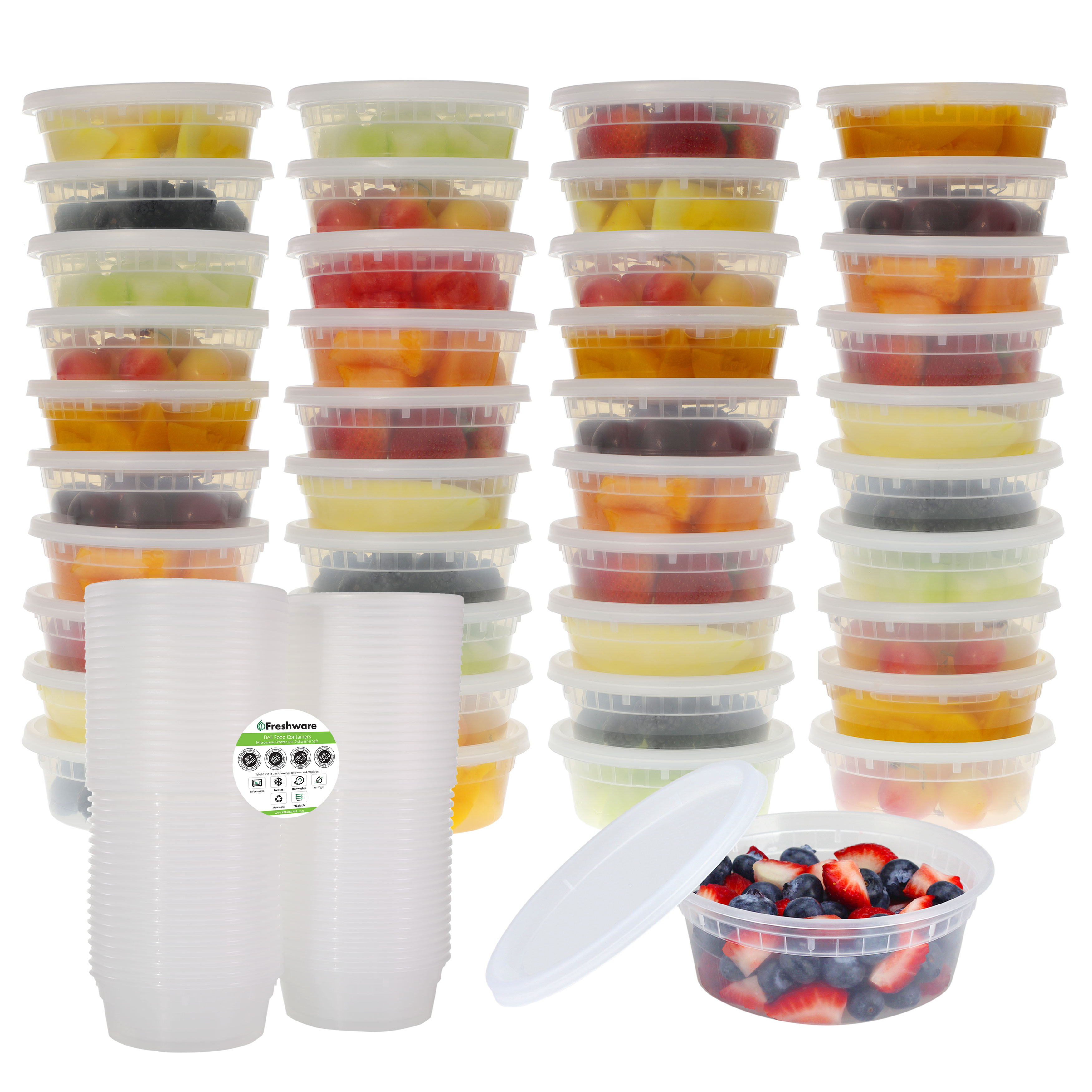 Freshware Plastic Containers with Lids, 8oz, 40-Pack, YH-S8X40