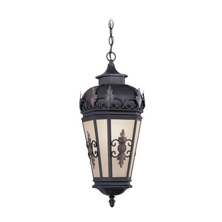 Antique Bronze Classic Crystal - Outdoor Pendants 1 Light With Antique Honey Linen Glass Bronze size 10 in 150 Watts - World of Crystal