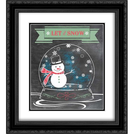 Let It Snow - Green 2x Matted 20x22 Black Ornate Framed Art Print by Longfellow Designs