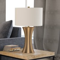 Quint Modern Glam Table Lamp in Gold Antique Brass Finish with Linen Shade