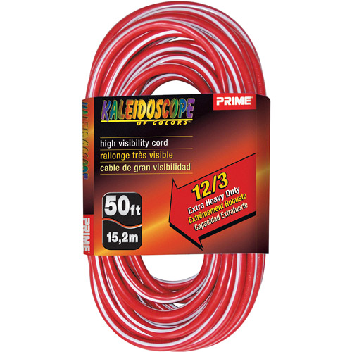 Prime Wire 50-Foot Kaleidoscope Extra Heavy Duty Extension Cord With Indicator Light, Red and White