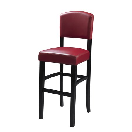 Wooden Counter Stool with Leatherette Seat and Backrest, Black and Red