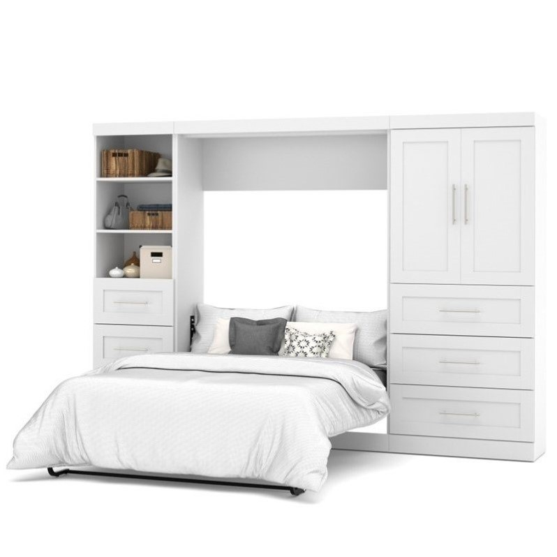 """Atlin Designs 120"""" Full Wall Bed with 2 Piece 6 Drawer Door Storage Unit in White"""