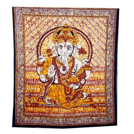 OMA Hindu Lord Ganesh Ganpati Batik Tapestry Wall Hanging For Yoga Meditation - OMA FEDERAL (TM) BRAND