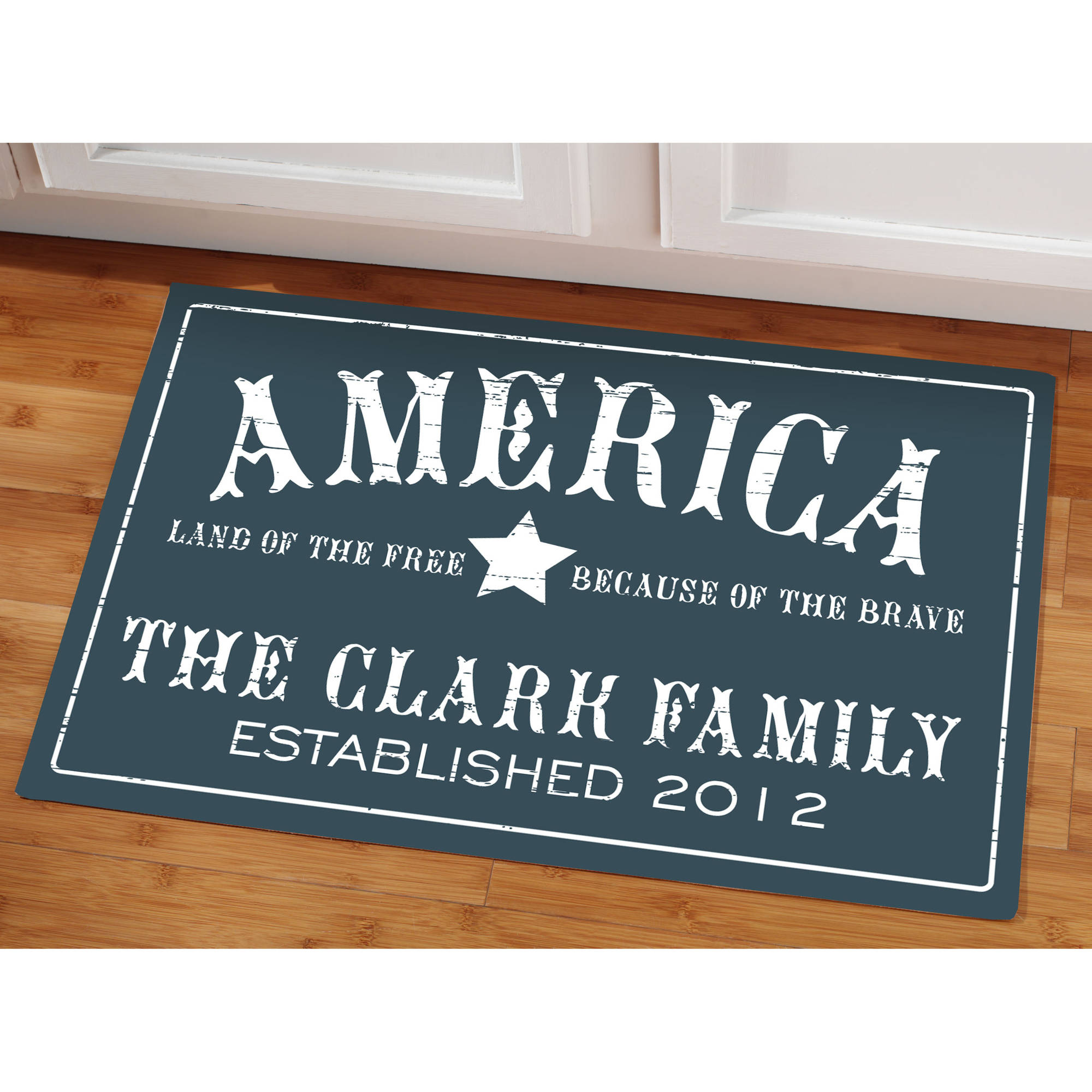 "Personalized ""Because of the Brave"" Doormat"