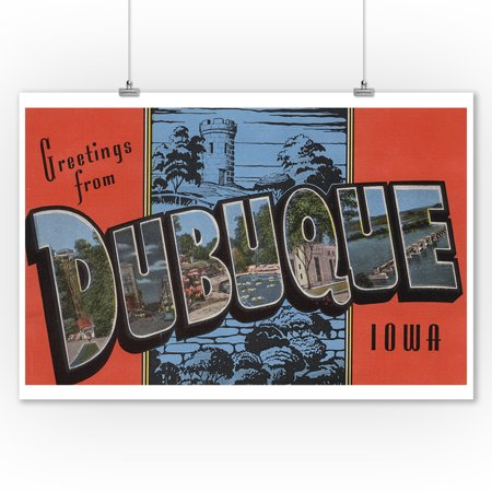 Greetings from Dubuque, Iowa (9x12 Art Print, Wall Decor Travel Poster) ()