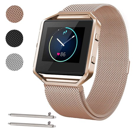 Large Size Stainless Steel Magnetic Milanese Replacement Wrist Band Loop Strap w/ Frame for Fitbit Blaze Smart