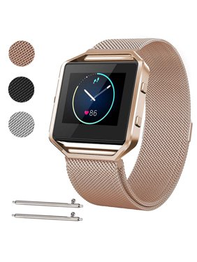Large Size Stainless Steel Magnetic Milanese Replacement Wrist Band Loop Strap w/ Frame for Fitbit Blaze Smart Watch