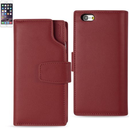 REIKO IPHONE 6 PLUS GENUINE LEATHER WALLET CASE WITH OPEN THUMB CUT IN BURGUNDY