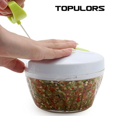 2017 Manual Food Chopper Hand-Powered Food Chopper Compact Handheld Onion Chopper, Garlic Squeezer, Ginger Slicer, Pepper Cut, Herbs Chop, Cheeses Chopper Masher ()