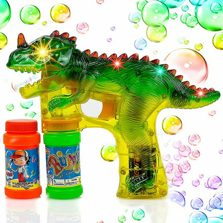 Flashing Bubble Gun (Toysery Dinosaur Bubble Shooter Gun Light Up Bubbles Blower with LED Flashing Lights and Sounds Dinosaur Toys for Kids, Boys and Girls.3 AA Batteries)