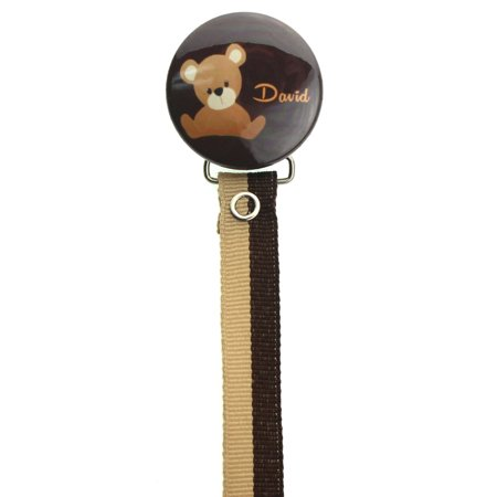 Personalized Name Teddy Bear Pacifier Clip