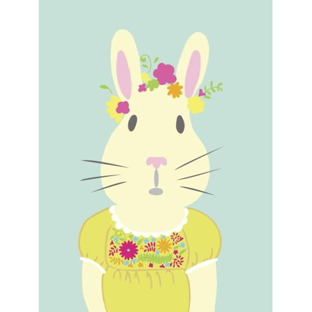 Fancy Animals Whimsical Folk Animal Rabbit Portrait Nursery Kids Room Decor Print Wall Art By Chariklia Zarris