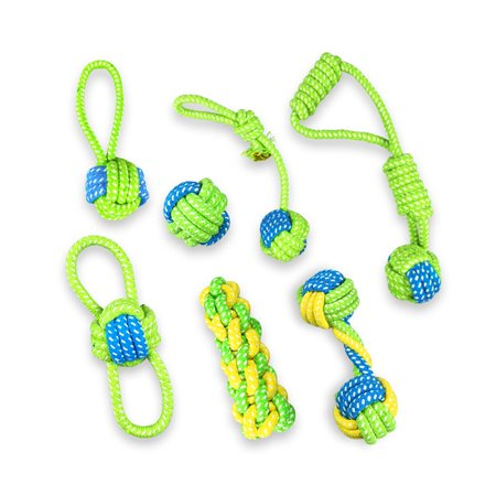 7PC Braided Cotton Rope Knot Biting Toy for Pet Dog Interactive Chewing Toy - image 6 de 6