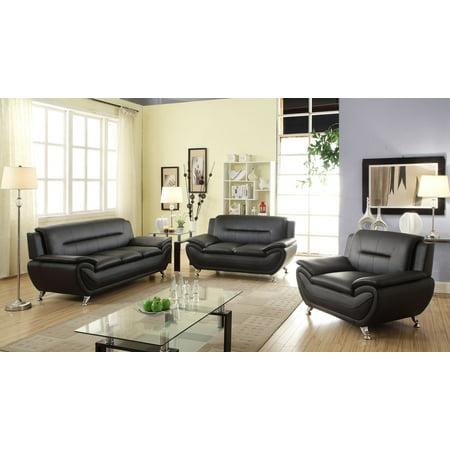 - Modern Style Faux Leather Sofa, Loveseat, chair, 3PCS SET