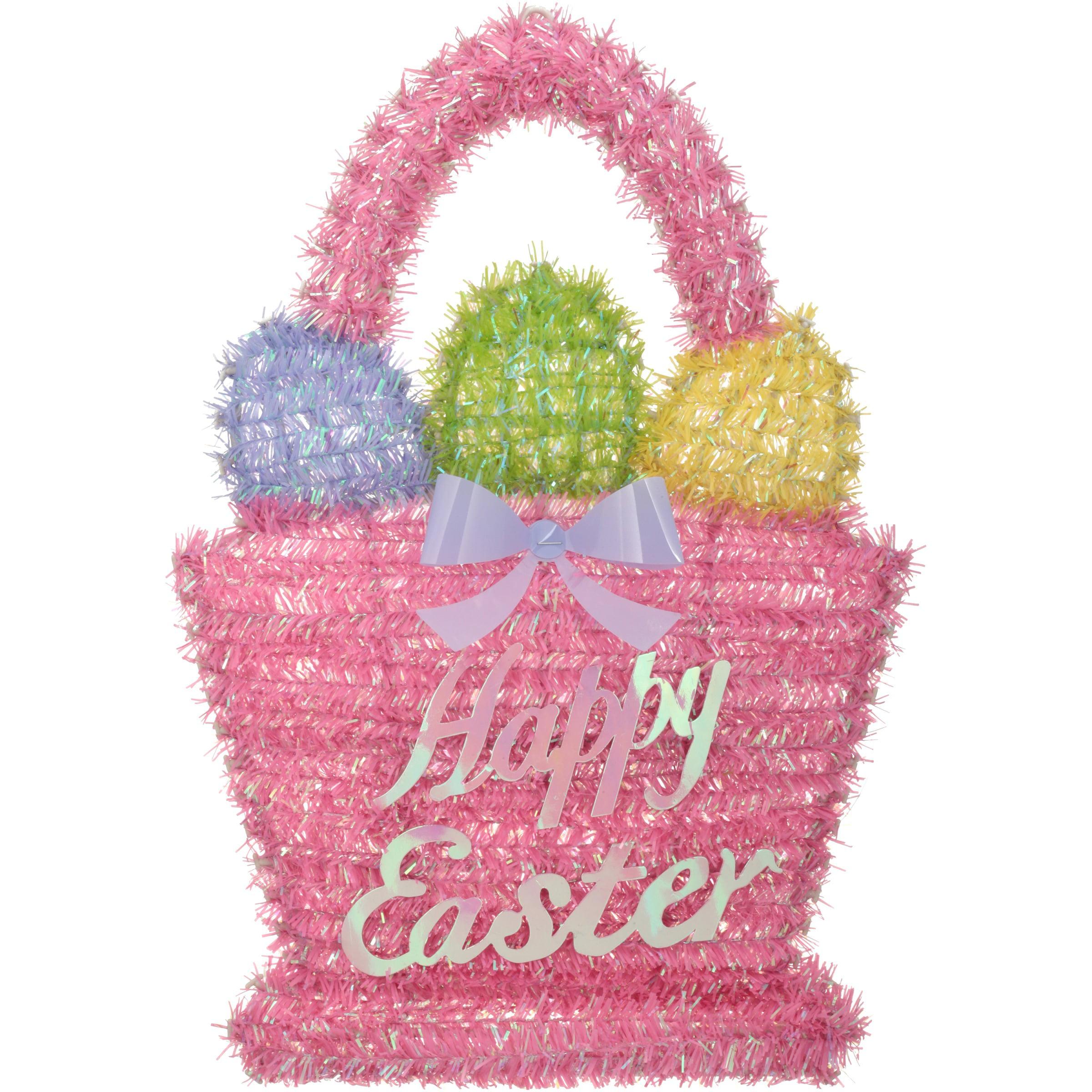 Easter Tinsel Egg Basket Pink Decoration