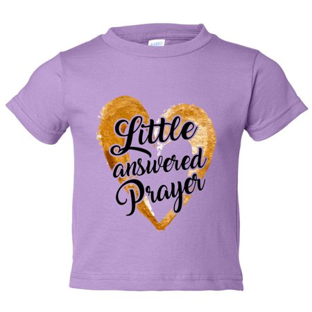 "2d041e89 Funny Threadz - Funny Threadz Kids Adorable Religious Youth ""Little  Answered Prayer"" Toddler Shirt 3T Toddler, Lilac - Walmart.com"