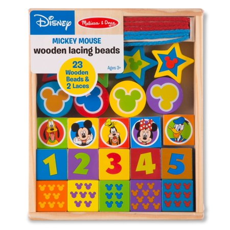 Melissa Doug Disney Mickey Mouse Wooden Lacing Beads â 23 Beads 2 Laces