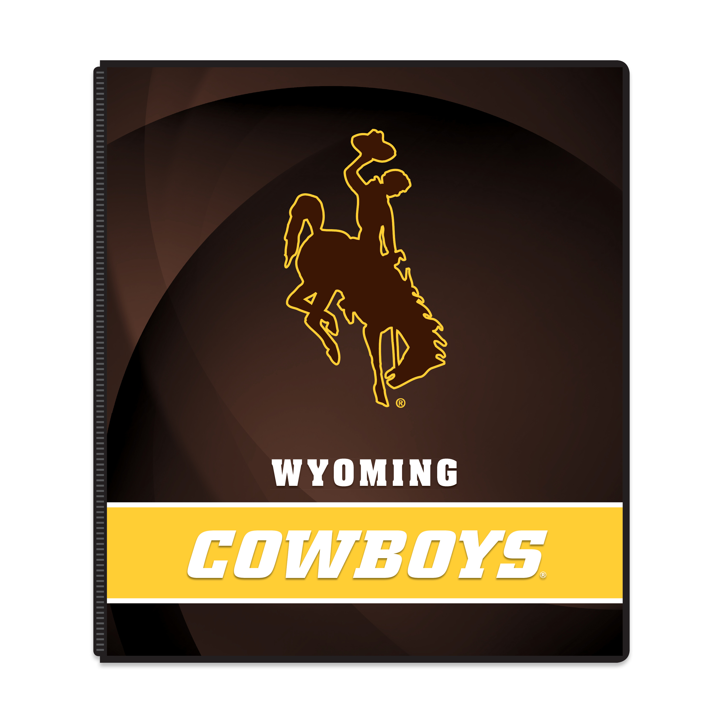 "NCAA Wyoming Cowboys 3 Ring Binder, 175 Sheet Capacity, 1"" Metal Rings"