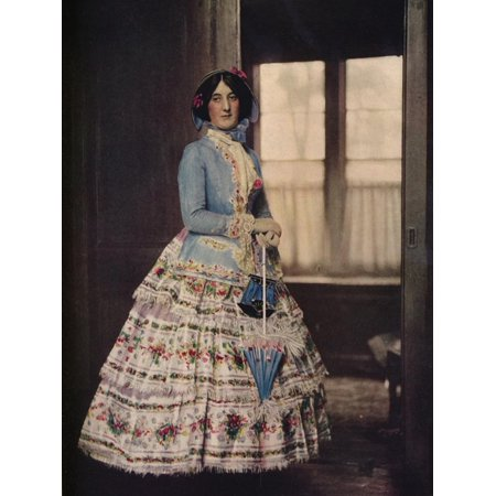 'An embroidered coat, with a lovely silk gauze skirt. In fashion between 1850 and 1860', c1913 Print Wall - Lovely Embroidered