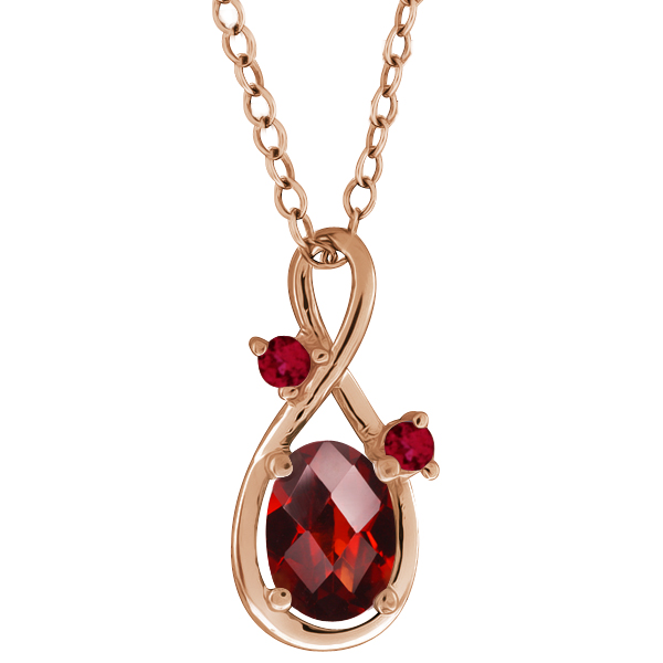 0.88 Ct Checkerboard Red Garnet Gold Plated Sterling Silver Pendant