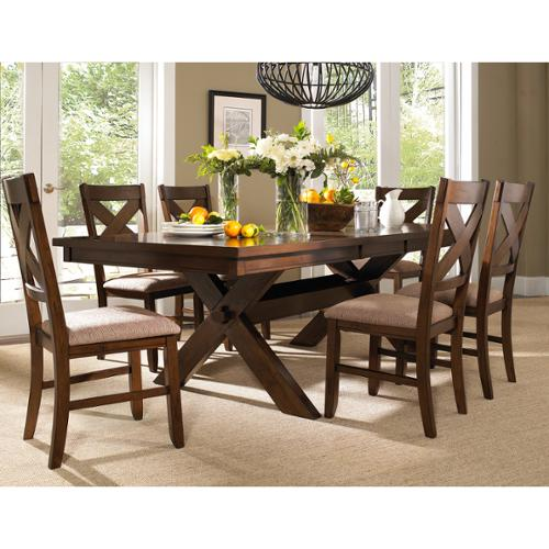 Roundhill Furniture 7 Piece Solid Wood Dining Room Set with Table and 6 Chairs by Overstock
