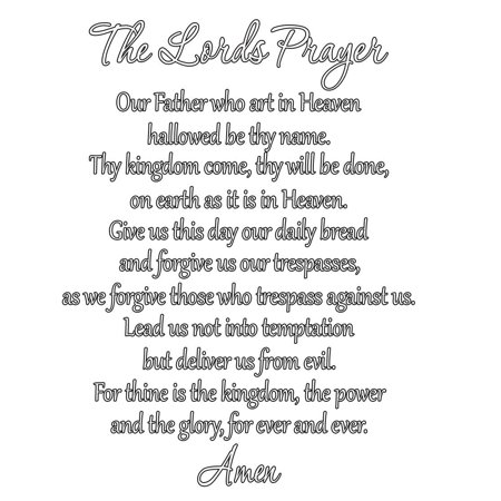 VWAQ The Lord's Prayer Bible Wall Decal Our Father White Vinyl Letters Art Scripture Quote Faith Home Christian Decor Stickers - Scripture Stickers