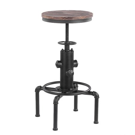 Admirable Ikayaa Metal Industrial Bar Stool Height Adjustable Swivel Pinewood Top Kitchen Dining Chair Pipe Style Barstool W Footrest Creativecarmelina Interior Chair Design Creativecarmelinacom