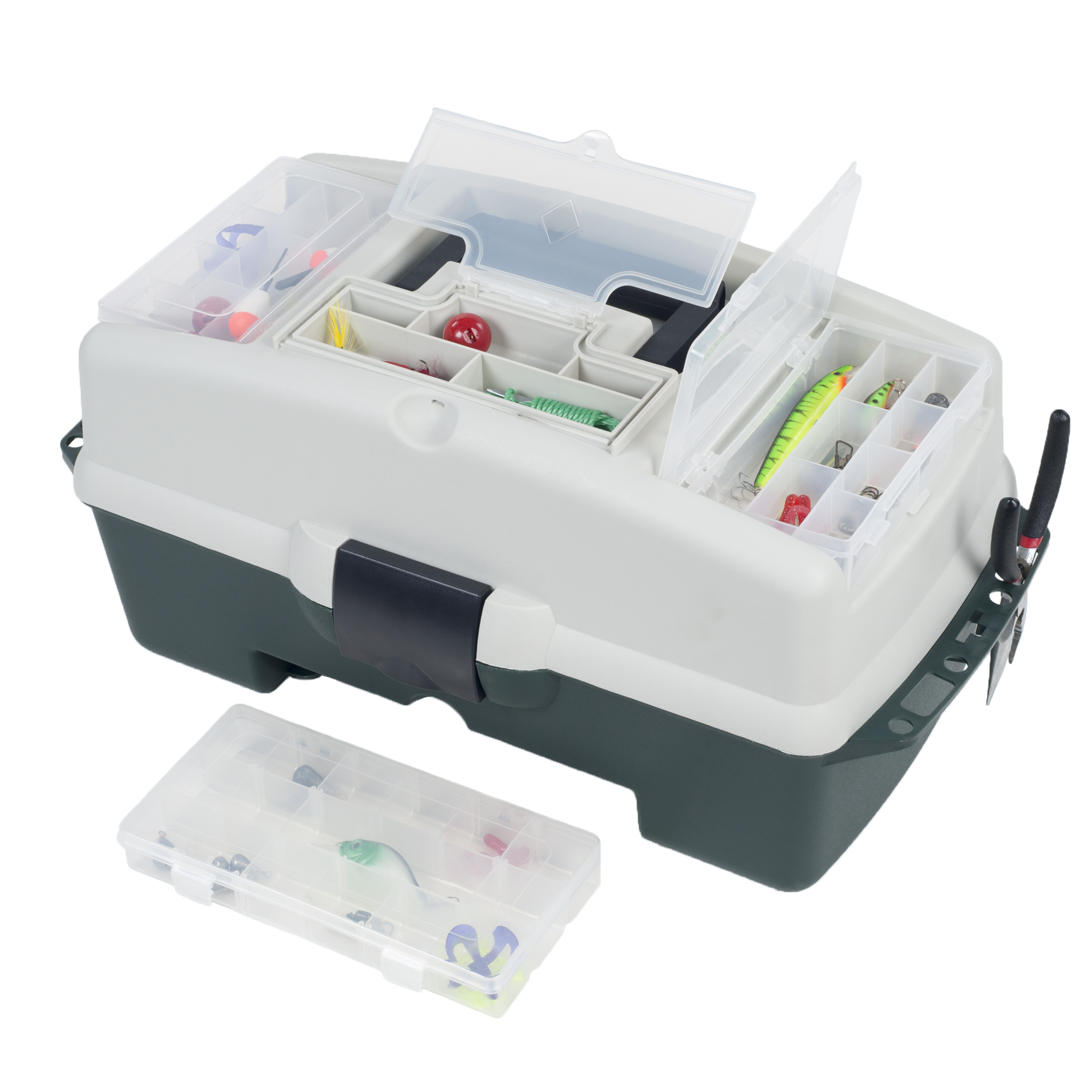 2-Tray Fishing Tackle Box Craft Tool Chest and Art Supply Organizer with Lid Storage and 3 Removable Front Organizers �... by Trademark Global LLC