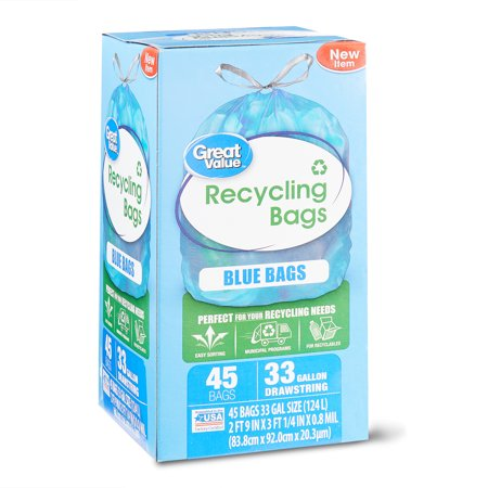 - Great Value Blue Recycling Bags, 33 Gallon, 45 Count