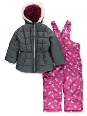 Floral Print Polar Fleece Lined Jacket and Snowbib, 2-Piece Set (Little Girls)
