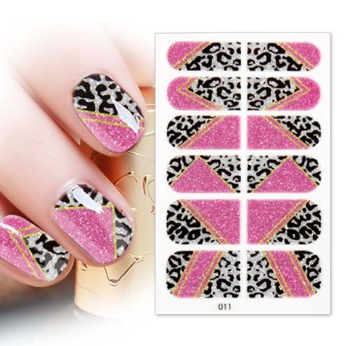 BMC 12pc Nail Art Adhesive Strips - Black Animal Print Pink Gold Glitter Stripes