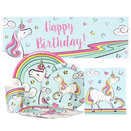 Unicorn Birthday Party Value Kit for up to 16 Guests - Unicorn Party Ideas