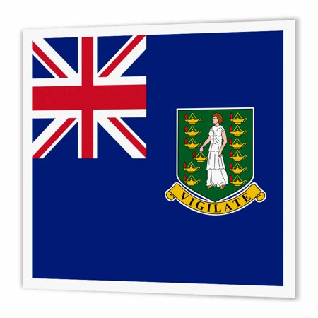3dRose Flag of the British Virgin Islands British Union Jack on blue with Saint Ursula shield coat of arms, Iron On Heat Transfer, 8 by 8-inch, For White
