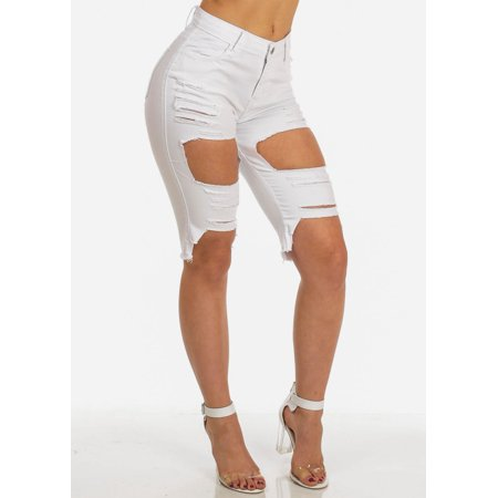 Womens Juniors Sexy Ripped White Mid Rise Jean Capris 10779V