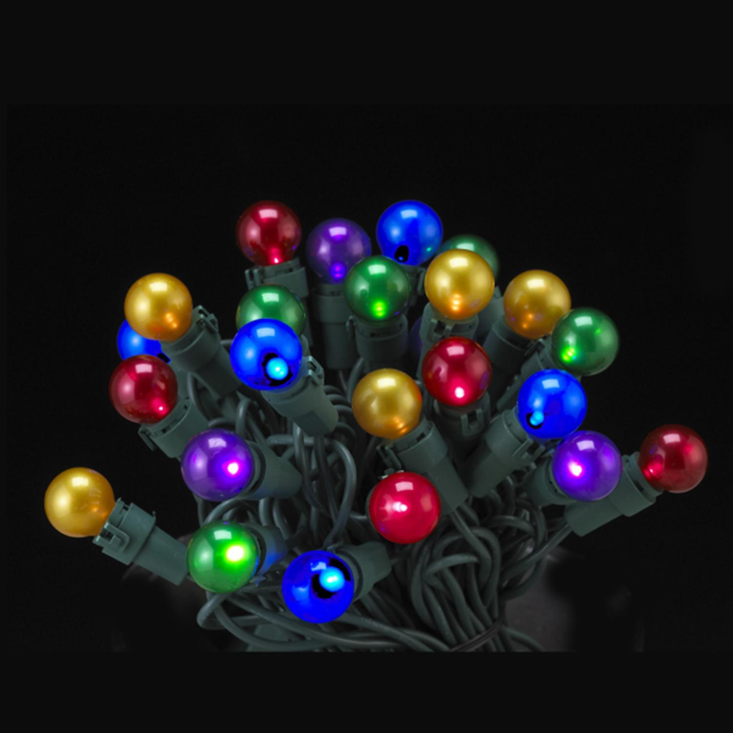 set of 50 led multi colored pearl glass g15 berry christmas lights