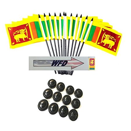 "Pack of 12 4""x6"" Sri Lanka Polyester Miniature Office Desk & Little Table Flags, 1 Dozen 4""x 6"" Sri Lankan Small Mini Handheld Waving Stick Flags with 12 Flag Bases (Flags with Stands)"