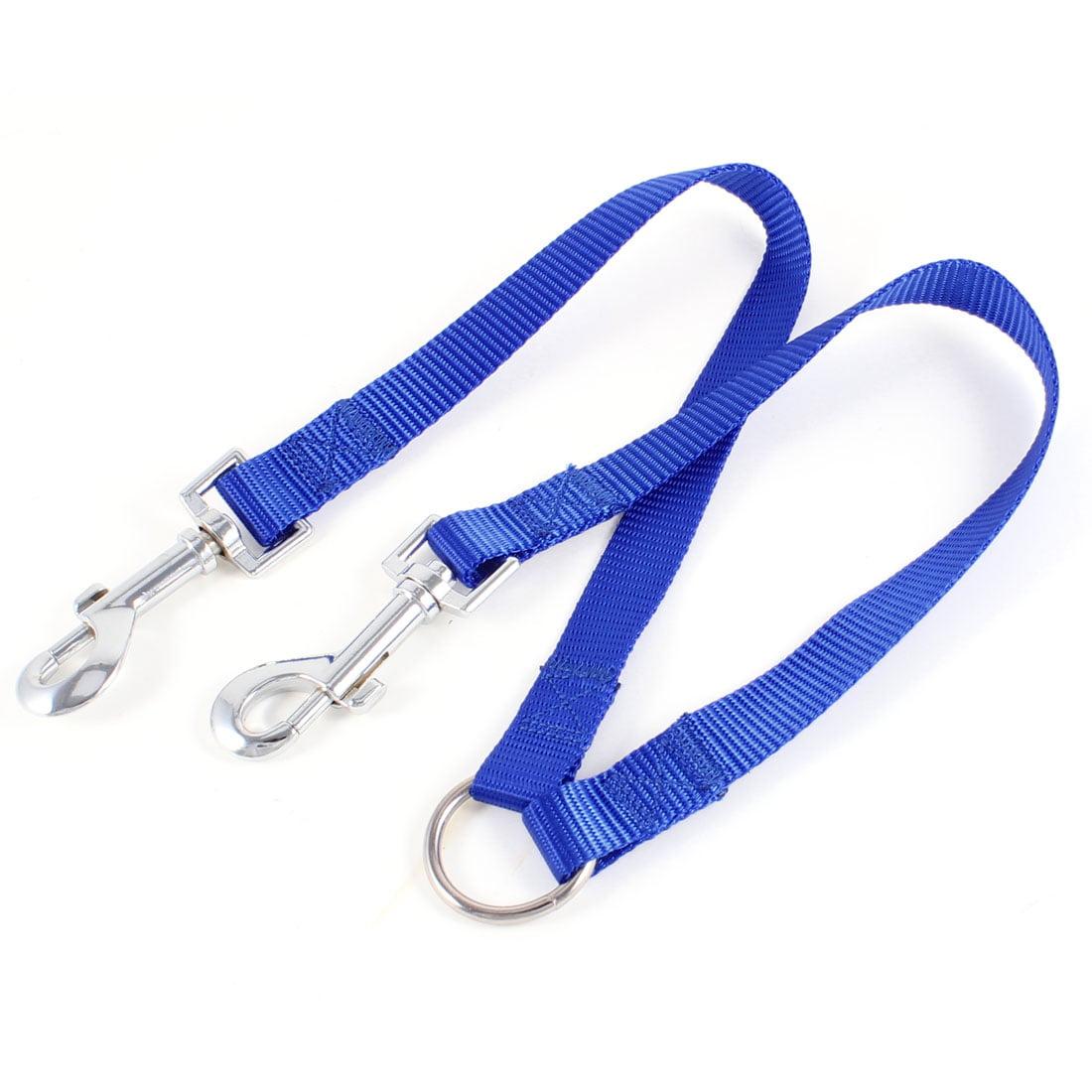 Unique Bargains Nylon 18mm Width Walk Double Dog Dual Lobster Clasp End Pet Leash Blue