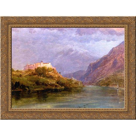 FrameToWall - Salzburg Castle 24x20 Gold Ornate Wood Framed Canvas Art by Church, Frederic Edwin