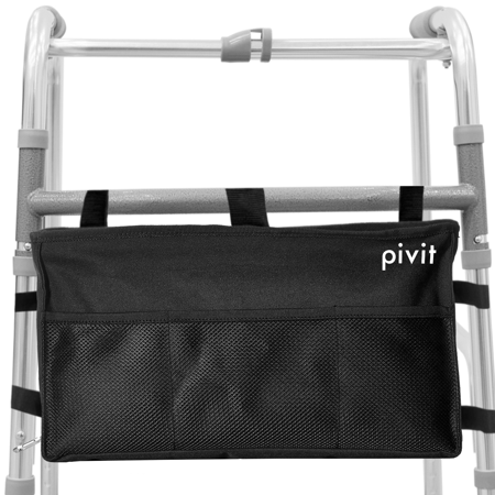 Pivit Water Resistant Walker Bag | Accessory Basket Provides Hands Free Storage for Folding Walkers | Attachment Fits Wide and Narrow Styles | Tote Caddy Pouch for Elderly, Seniors, Handicap, (Stereo Bag)