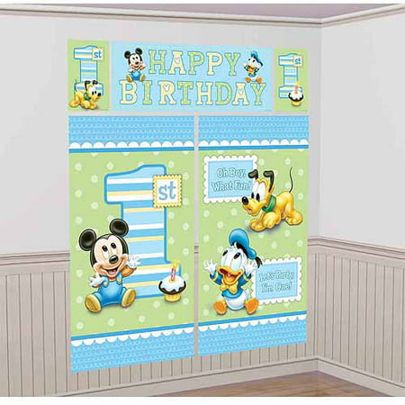 Disney Mickey Mouse 1st Birthday Scene Setter - Mickey Mouse Ideas For Birthday Party