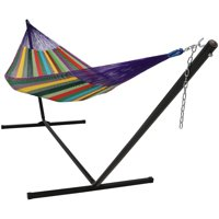 Sunnydaze Hand-Woven 2 Person Mayan Hammock with Stand, Matrimonial Size, Multi-Color, 400 Pound Capacity