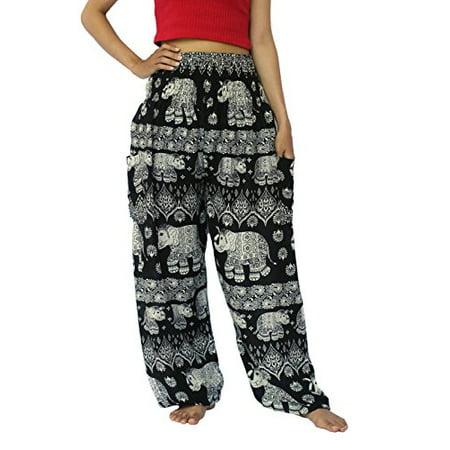 NaLuck Women's Boho Hippie Elephant Jumpsuit Rayon Smocked Waist Yoga Baggy Harem Pants PJ18-Black#14
