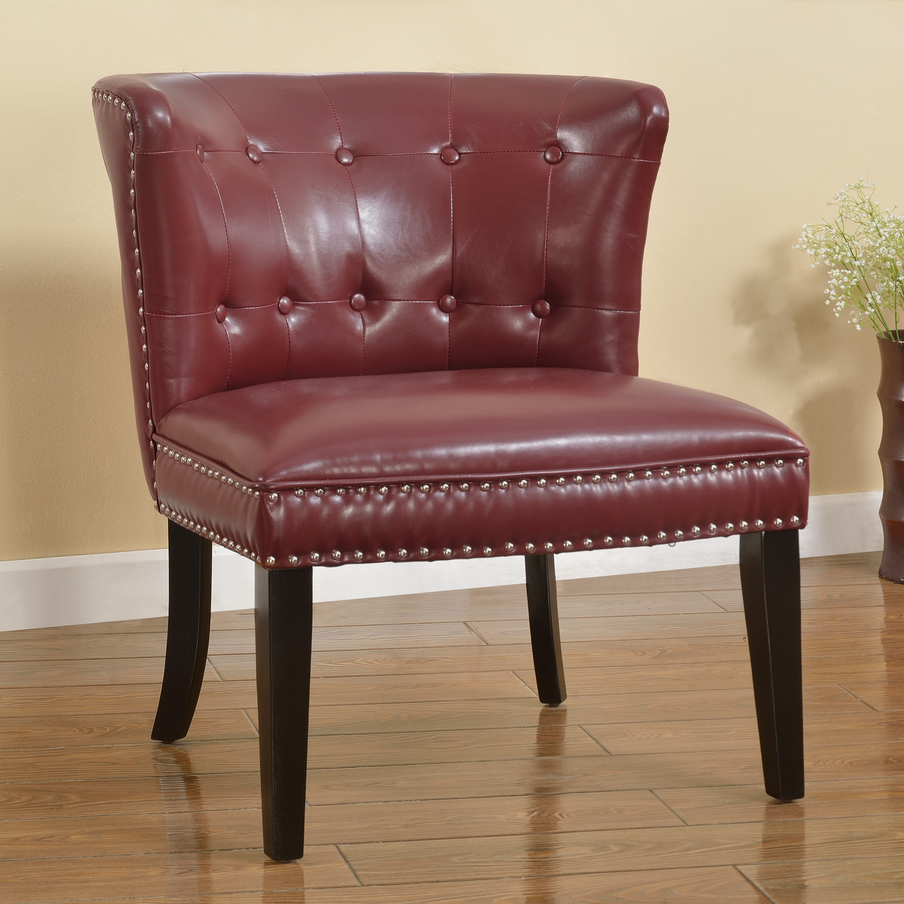 Best Master Furniture's Regal Tufted Faux Leather Accent Chair, Set of 2, Multiple Colors Available