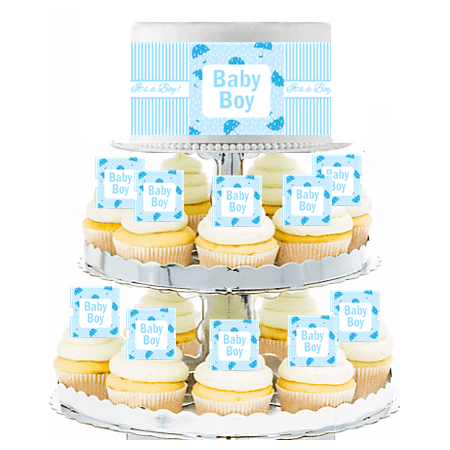 Baby Boy Umbrella Shower  Edible Photo Toppers  & Edible Cupcake Decoration Kit - Baby Boy Cupcake Toppers