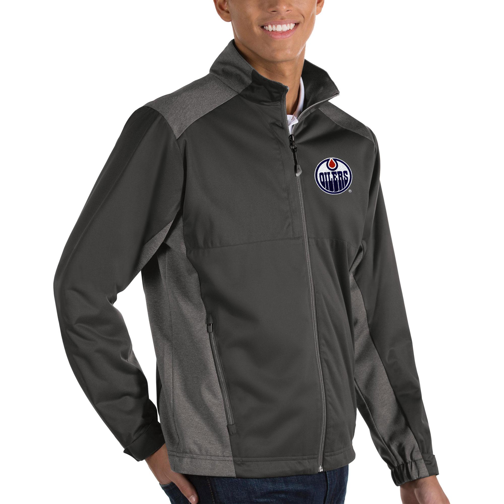 Edmonton Oilers Antigua Revolve II Full Zip Jacket - Charcoal