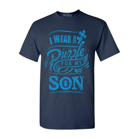 Shop4Ever Men's I Wear A Puzzle For My Son Autism Blue Graphic